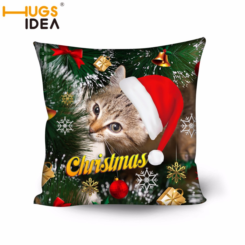 HUGSIDEA Christmas Cat Dog Cushion Cover Decorative Pillow Case For Home Sofa Seat Case Car Pillowcase Soft Bed Pillow Case