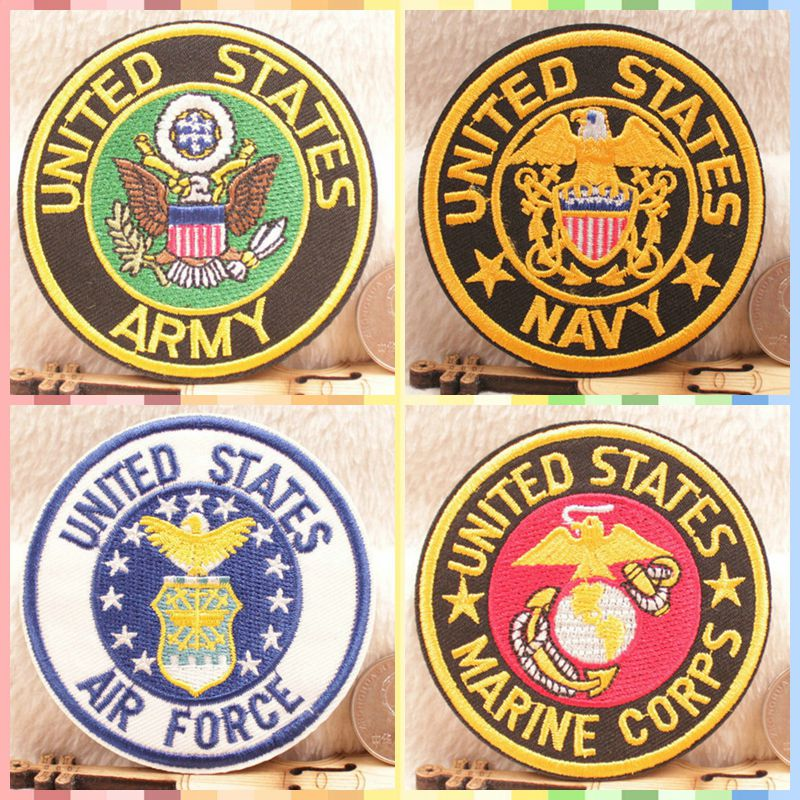 Free Shipping Army Navy Air Force Navy stickers 4pcs/lot Iron On Embroidered cloth patch party promotion costume decoration gift