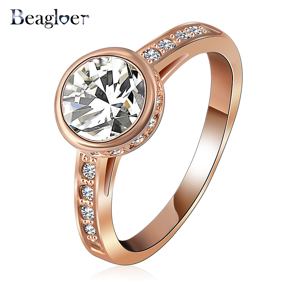 Beagloer Brand Chic Ring Jewelry Fashion Round Clear Genuine Austrian Crystal Wedding Ring Free Shipping Ri-HQ1039-A
