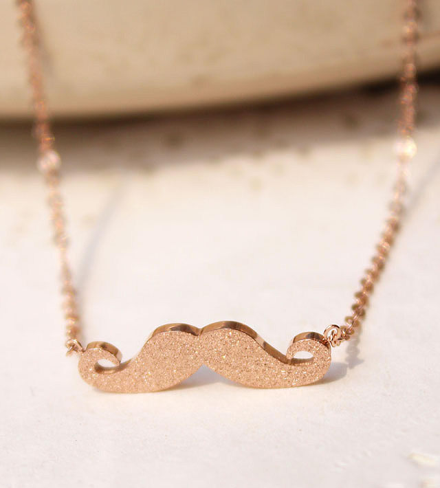 YUN RUO Double Sides Moustache Shape Choker Necklace 2017 New Titanium Steel Rose Gold Color Woman Jewelry Gift Free Shipping